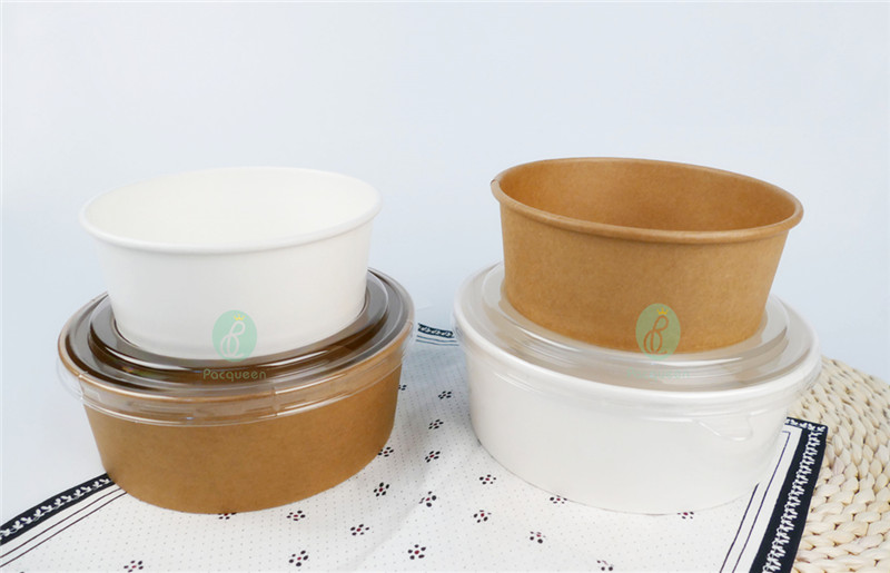 Disposable White Paper Salad Bowls With Clear Lids Take