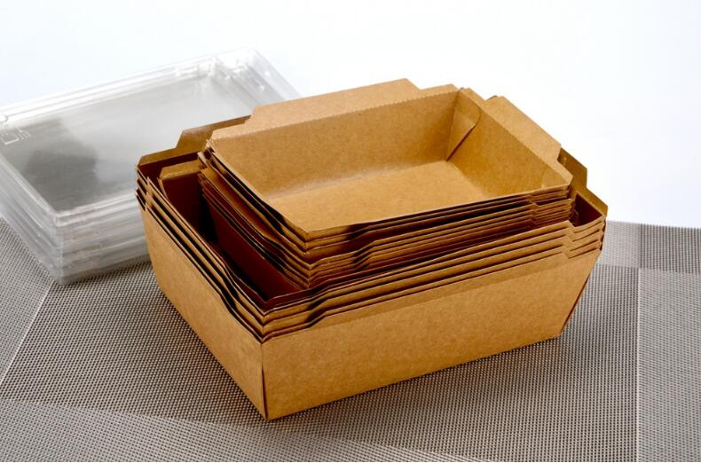 Disposable Kraft Paper Food Container With Clear Pet Lid