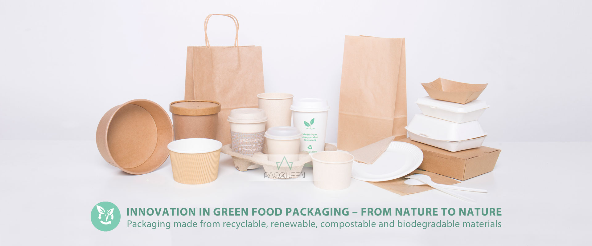 Pacqueen | food packaging paper/plastic pouches, bags, cups